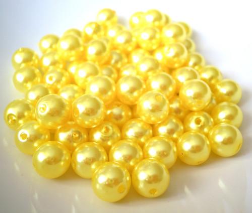 Akrylové perly žluté 10 mm - 20 ks