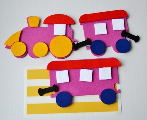 Výseky z plsti - vláček + 2 vagónky