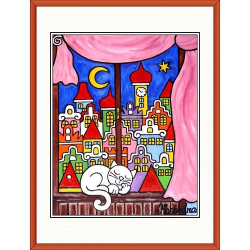 Kocour na okně - růžový závěs 31,5 x 41,5cm