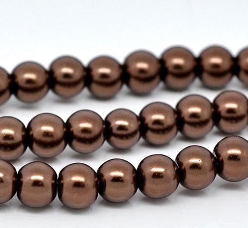 perly skleněné / hnědá / 8mm/ 14ks