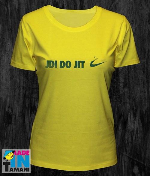 Dámské žluté tričko Jdi dojit 02