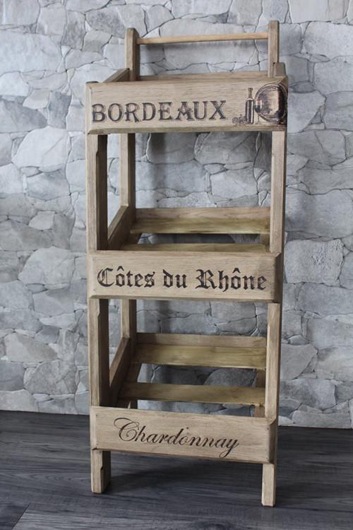 """Drevený stojan na vína \""""vozík\"""""""