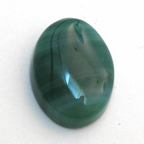Kabošon zelený pruhovaný achát ovál 18mm