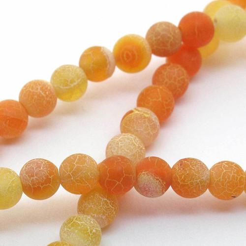 Korálky oranžový dračí achát kulaté 6mm (4 ks)