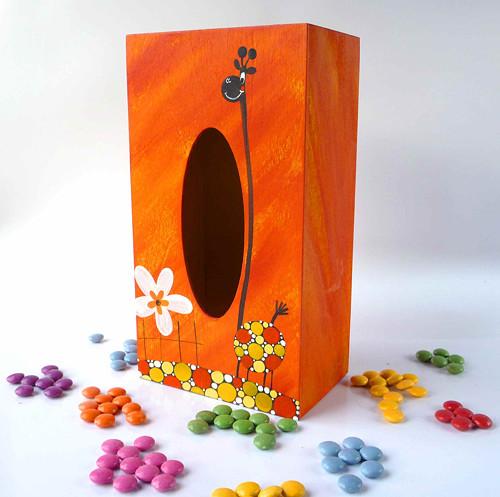pelíšek pro trpaslíka - oranžový s žirafou