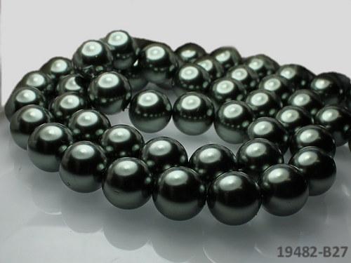 19482-B27 Voskované perly 16mm ŠEDOKHAKI, bal. 2ks