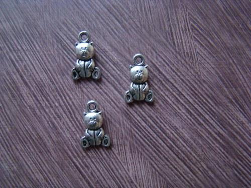 Kovový komponent - malý medvídek/  5 ks