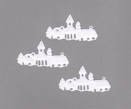 Zasněžená vesnička na šířku - bílé výseky (3 ks)