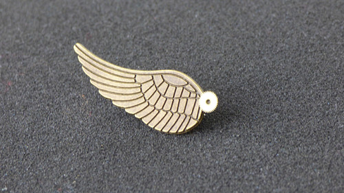 Křídlo, steampunková brož,bronzová