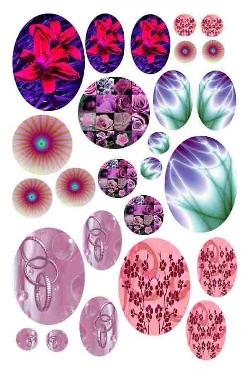 mix motivů růžovofialových