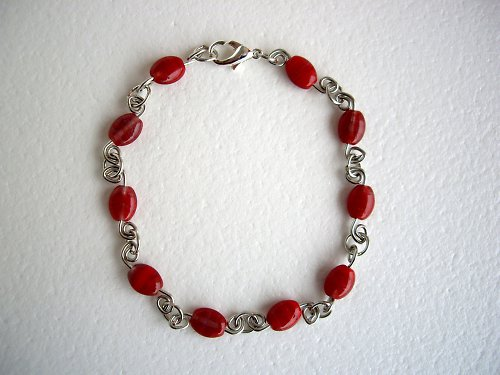 Červené spirálky - náramek