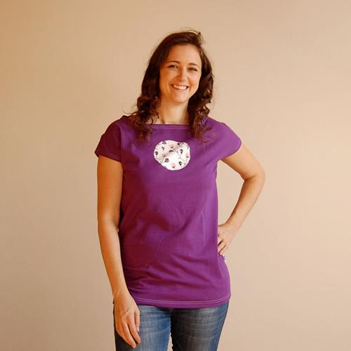 Dámské tričko fialové s poupátka vel. 38