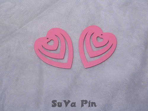 Srdce trojité růžové , 3 ks