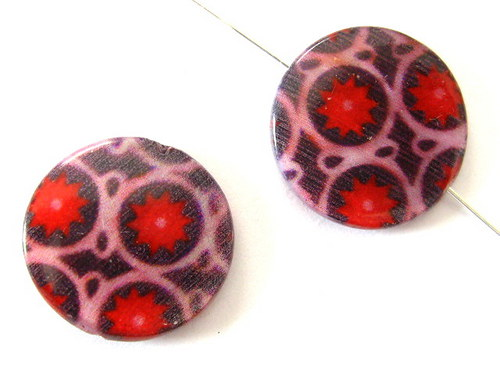 0705008/Perleťová placička fialovo/červená