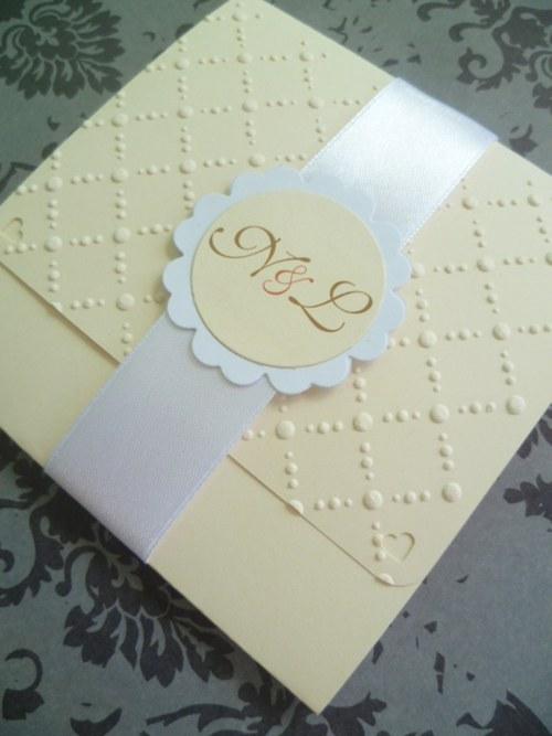 Svatební oznámení smetanové skládané