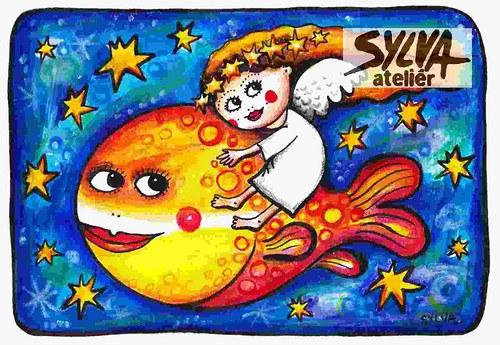 Andílek na rybě- pohlednice