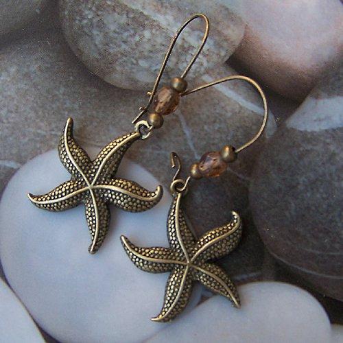 Bronzové náušnice mořská hvězdice