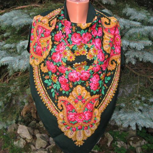 Vlněný šátek s růžemi  12849