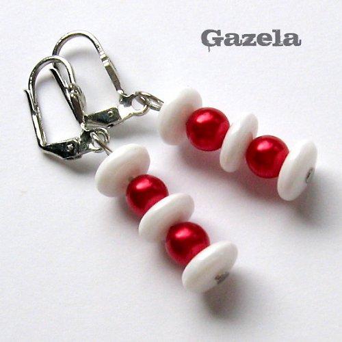 Náušnice Bílo - červené