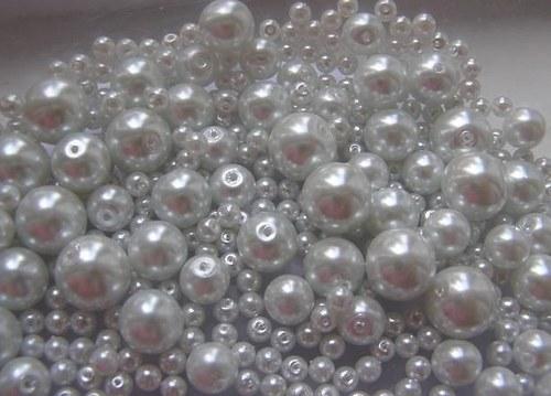 Voskované perly bílá MIX Ø4-10mm 50g skleněné