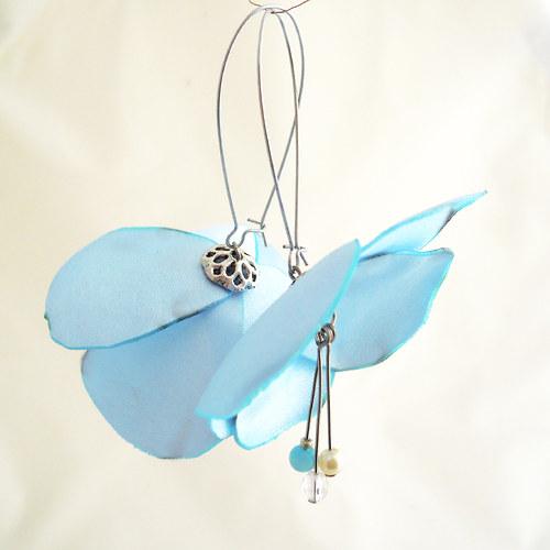 Náušnice: Nebesky modré květy