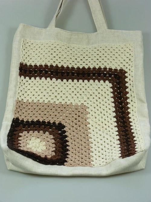 Plátěná taška s háčkovanou aplikací - béžovohnědá