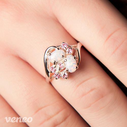 Penelope - prsten s opály a růžovými zirkony