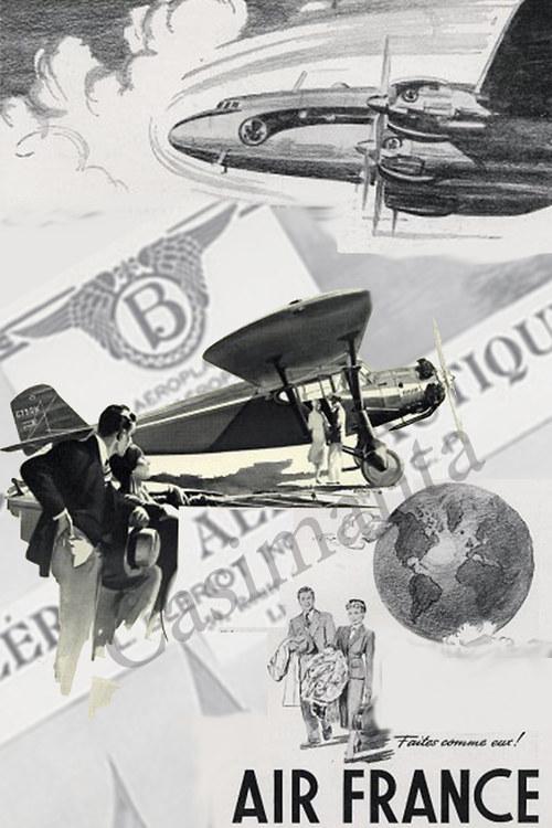Letecká doprava - vintage motiv