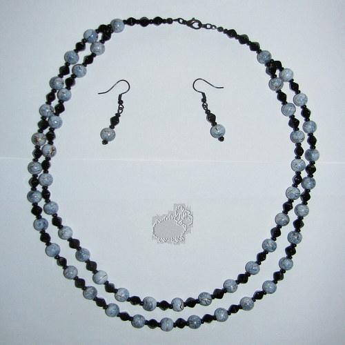 dvojitý náhrdelník s náušnicemi