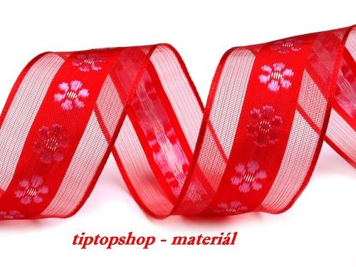 Stuha šíře 40mm s drátem KVÍTEK, červená  (2m)
