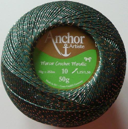 Anchor Crochet Metallic - zeleno-zlatá