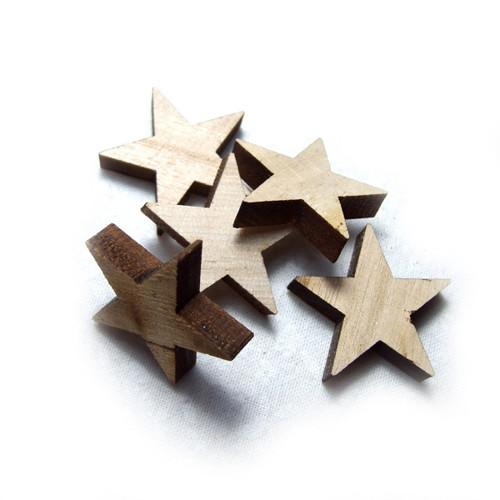 Hvězdičky dřevěné přírodní, 5 ks