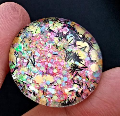 Skleněný kabošon třpytivý, průměr 25 mm