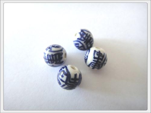 Čínský porcelánový korálek, modrá kulička B