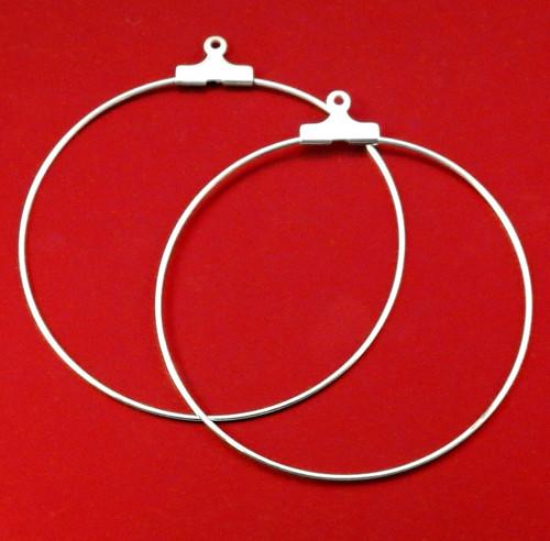 Náušnice kreole ve stříbrné barvě, cca 4 cm, 2 ks