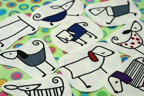Fashion dogs blue - nažehlovací obrázky