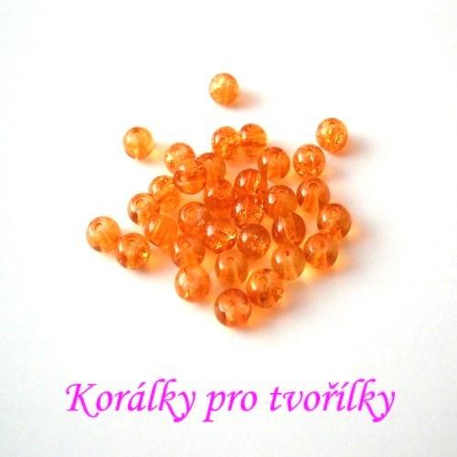 Práskané korálky oranžové 4mm/20ks/7,- Kč