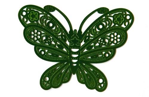 Motýl zelený 38x50mm
