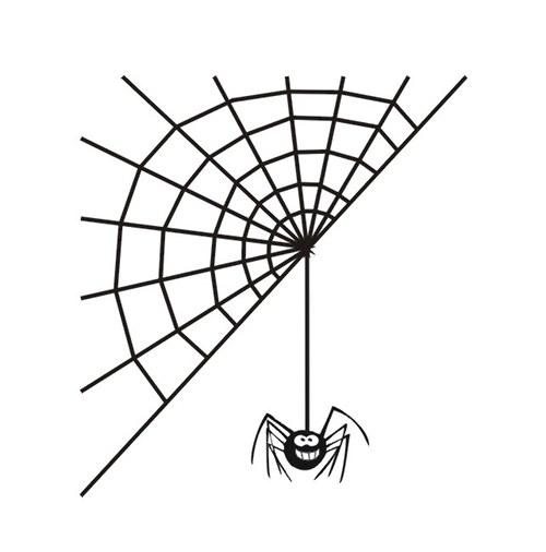 Samolepka - dekorace na zeď - Pavouk s pavučinou