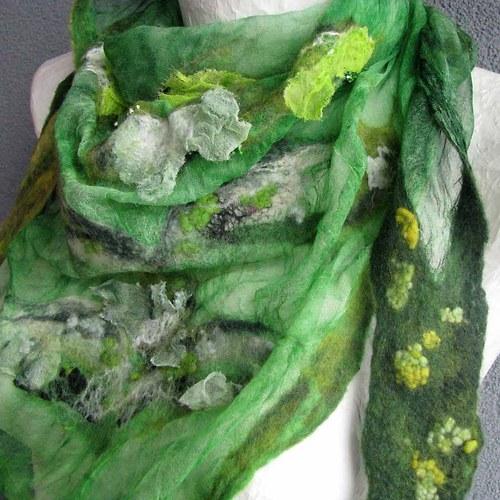 Plstěný šátek zelený