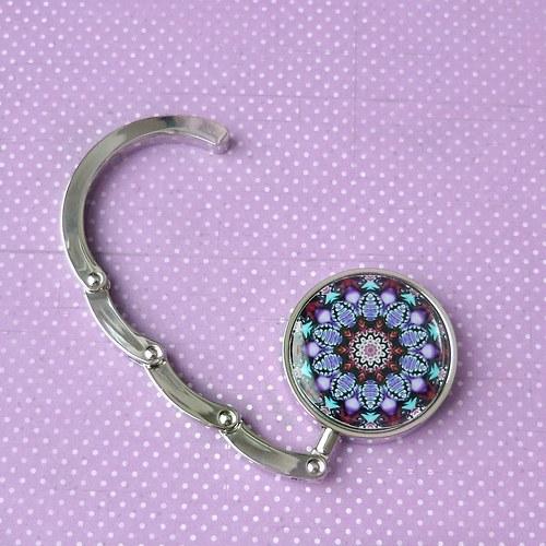 Háček na kabelku - fialovočervený