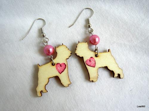 Naušnice pes grifonek srdce růžové
