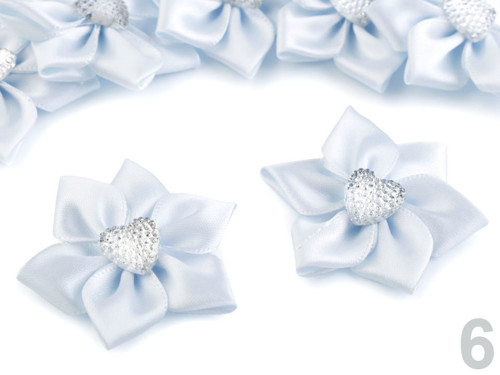 Saténový květ Ø50 mm s kamínkem (5ks)-modrá sv.