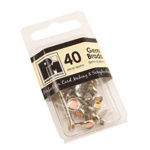 Hřebíčky s kamínkem - Žluté - 40 ks  5mm & 8mm