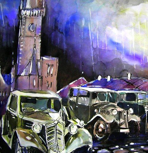 Akvarel 594 x 841 mm / Praha a Tatrovky
