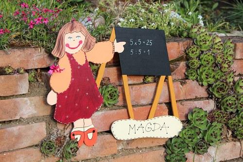 Dřevěná cedulka pro paní UČITELKU