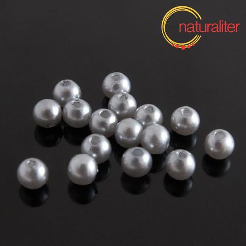 Voskované perly, stříbrné, 6mm, 50ks