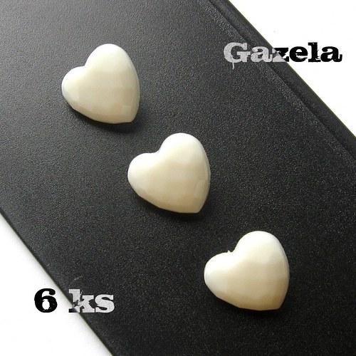 Knoflík Srdíčko bílé - 6 ks