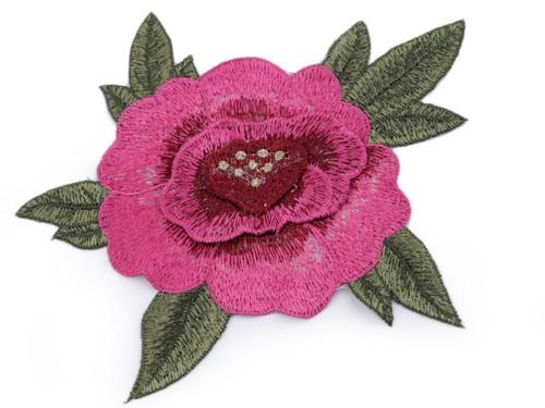 Vyšívaná aplikace růže 3D - tm.růžová