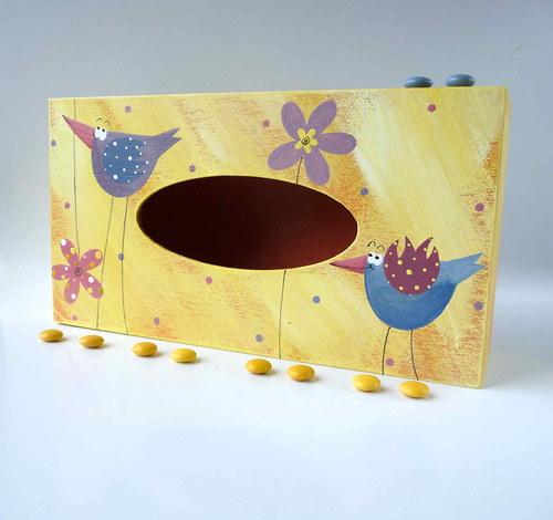 pelíšek pro trpaslíka -žlutý s ptáčky